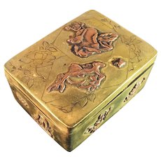 Large Japanese Mixed Metal Box c 1890. Bronze and Copper. Wonderful.