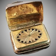 William Boot, Birmingham 1824 Solid Sterling Vinaigrette. Excellent.