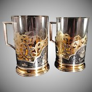 Pair of Solid Niello Gilt Silver Tea Glass Holder. Moscow, Russia Soviet 1950-60s. Fully Hallmarked. Superb.
