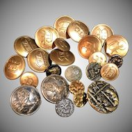 European Antique old Vintage Buttons. Many marked. Brunier Marechal, city of Lyon, France.
