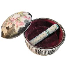 Large Antique Sterling Silver Pin Cushion Casket and Bead Work Needle Case.