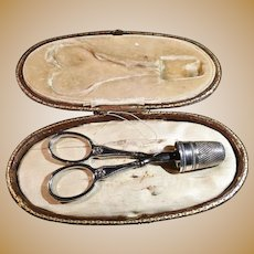 Antique French Hallmarked Silver Sewing / Embroidery Tools Set, Presentation Case Etui. c1890