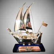Sterling Silver Presentation Ship. Dubai 1980s. 8 inch.