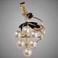 Trygve Sundin, Stockholm, 1957 18K Gold Cultured Pearl Grape Cluster Pendant