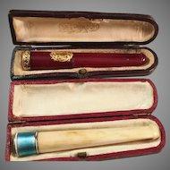 2 Antique French Cigarette Cheroot Holder in 18k Gold & Sterling Silver w Enamel . Original Case. La Belle Époque