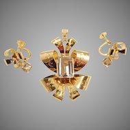 Stunning 1946 Set. 18K Gold, famous modernist maker Stigbert, Sweden. Pendant & Earrings. Signed.