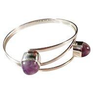 "Bold Sterling Silver Bracelet Handmade by Famous Modernist Gert Thysell, ""Gussi"", Sweden 1959."