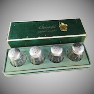 Early 1900s Christofle Sterling Silver and Glass Salt and Pepper Shakers in Original Box.