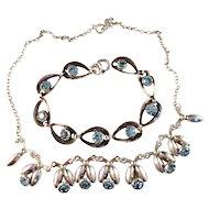 1950s Vintage Sterling Silver Necklace and Bracelet by famous Danish maker Herman Siersbøl