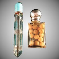 Two Antique Hallmarked Silver and Glass Perfume Bottles. Late 1800s