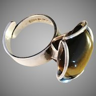 Vintage 1975 Modernist Sterling Silver Ring w large Tiger Eye. Maker ALTON, Sweden.