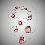 Stunning Niels Erik From, Denmark Vintage 1950s Sterling Silver Set. Ring, Brooch, Pendant Necklace, Bracelet.