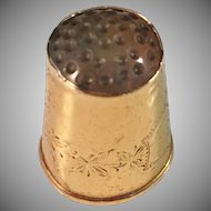Antique 18K Gold Thimble with grey Agate. G Dahlgren, Sweden 1901.