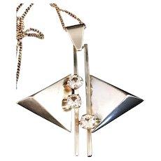 Vintage 1966 Sterling Silver Rock Crystal Pendant Necklace. Kaplan, Stockholm Sweden. Excellent Modernist.