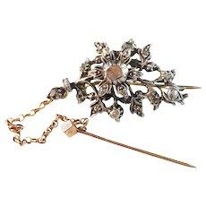 France year 1768-1792 Georgian, 18k Gold Rose Cut Diamond  Brooch Pin. Hallmarked