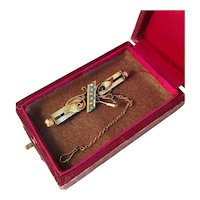 Chester 1866 or 1886 15k Gold Brooch with Turquoise and Pearls. Wow.