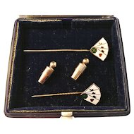Vintage 1962 18K Gold and Enamel Stick Pins. Playing Cards Poker. Lagerström, Stockholm, Sweden.