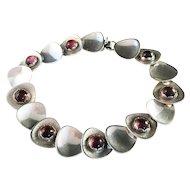 ALTON, 1962 Vintage Sterling Silver Bracelet with Purple Stones.