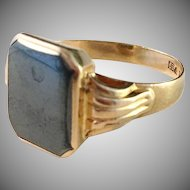 18k Gold Ring with Hematite. Ceson, Sweden 1955