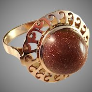 Bold Vintage 18k Gold and Gold Stone Ring. Alexandria, Egypt after 1916.