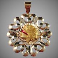 Vintage Venetian 18k Gold and Enamel Lady Justice Pendant / Brooch. Large. Excellent.