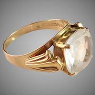 18k Gold Ring with large Rock Crystal. Maker Ceson, Gothenburg Sweden 1950s