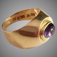 18k Gold Ring with Purple Amethyst. Vintage 1953, G Dahlgren Sweden.