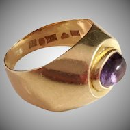 18k Gold Ring with Purple Amethyst. Vintage 1953, G Dahlgren Sweden.