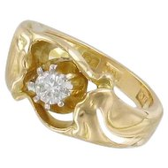 Stunning and Heavy 18k Gold and 0.23ct Diamond Dinner Ring. Garmland, Sweden 1950. 9.15gram