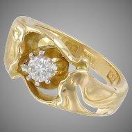 Stunning and Heavy 18k Gold and 0.23ct Diamond Dinner Ring. Garmland, Sweden 1950. 9.15gram