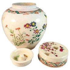 Antique Tea Caddy. Satsuma Creamware, signed Kinkozan. Meiji 1868-1912. Japan.