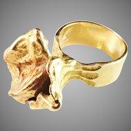 18k Gold Massive 18.5 gram Modernist Olle Ohlsson, Stockholm 1960s. Signed