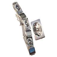 Georg Jensen 1933-1945 Bracelet and Brooch in Sterling Silver. Designer Henry Pilstup. Art Deco. Very rare.