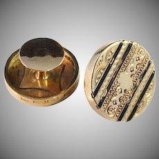 Antique year 1864, 18k gold Buttons. Jacob Engelberth Torsk, Stockholm Sweden. 6.1gram