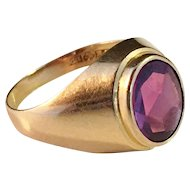 Vintage 18k Gold and (prob) Synthetic Sapphire Ring. Ceson, Gothenburg Sweden 1967