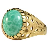 18k Gold Ring w Green Stone. Unidentified hallmarks South Europe Vintage or Antique