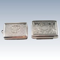Two Antique Sterling Silver Vinaigrettes. Nathaniel Mills 1835 and Edward Smith 1846