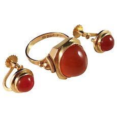 18k Gold and Carnelian Ring and Earrings. G. Dahlgren, Sweden 1952. Very rare.
