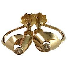 Famous Karl Erik Palmberg for ALTON 18k Gold Rock Crystal Earrings. Sweden 1968. Modernist.