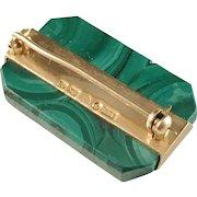Arvid Rosen, Sweden. 18k Gold Malachite. Vintage 1959. Mid Century Brooch.