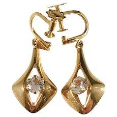Karl-Erik Palmberg for Alton, Sweden 1968. 18k Gold and Rock Crystal Earrings. Excellent.