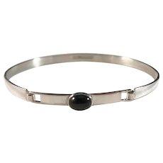 Vintage 1964 Finnish Modernist Turun Hopea Solid Silver Bracelet. Onyx