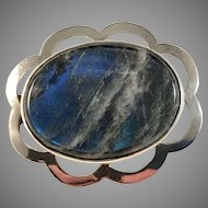 Very Rare Bengt Hallberg Spectrolite Solid Silver Brooch. Sweden year 1960 Mid Century. Excellent