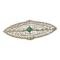 Vintage 10k White Gold  Forest Green Tourmaline Filagree Brooch. Hallmarked. Excellent.