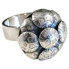 Much Sought After Elis Kauppi, Finland, year 1969 Modernist Sterling Silver Ring.