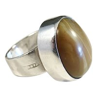 Hansen, Stockholm Sweden. Modernist Sterling Brown Agate Ring. 1960s.