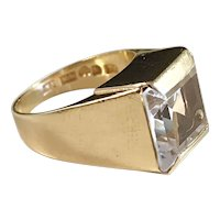 Daniel Ekström 18k Gold Rock Crystal Ring. Year 1964 Mid Century Sweden. 5.0gram