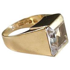 Daniel Ekström 18k Gold Rock Crystal Ring. Year 1964 Mid Century Sweden. 5.0gram