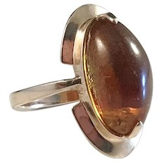 Russian 14k Gold Baltic Amber Ring. Modernist c 1970