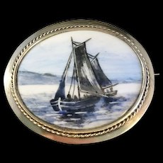 1903-1926 Gilt Sterling Hand Painted Boat Ship Porcelain Brooch. Signed. Large.
